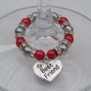 Best Friend Wine Glass Charm - Full Sparkle Style